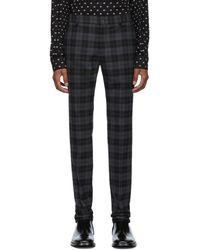 Balenciaga Black And Gray Checked Tailored Pants