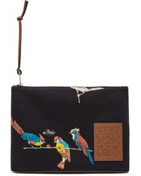 Loewe - Paula's Ibiza コレクション ブラック Oblong Parrots ポーチ - Lyst