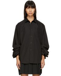 Junya Watanabe - Black Gathered Sleeve Shirt - Lyst