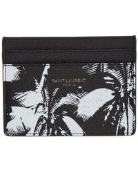 Saint Laurent - ブラック And ホワイト Palm Tree カード ホルダー - Lyst