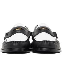 Rhude White & Black Leather Penny Loafers