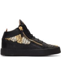 Giuseppe Zanotti Black And Gold Croc Kriss High-top Sneakers