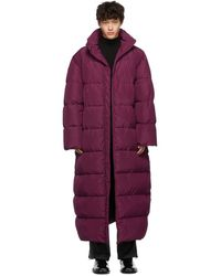 Balenciaga Oversized Long Quilted Coat - Purple