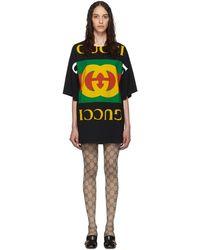 Gucci ブラック オーバーサイズ T シャツ ドレス