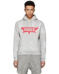 DSquared² - Grey Destroyed Logo Dan Hoodie - Lyst
