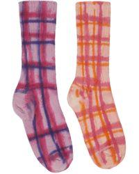 Collina Strada Chaussettes multicolores à carreaux teintes à la main