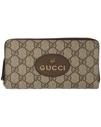 Gucci Beige GG Supreme Tiger Zip-around Wallet - Natural