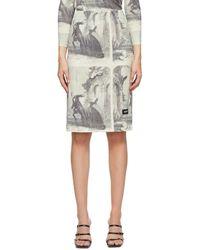 Pushbutton ホワイト And ブラック Story Print ミドル レングス スカート
