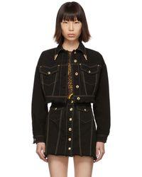 Versace Jeans Couture ブラック デニム コントラスト ステッチ ジャケット