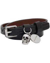 Alexander McQueen - Black Croc Skull Double-wrap Bracelet - Lyst