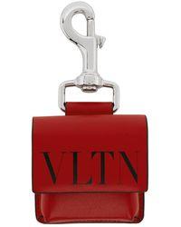 Valentino Red And Black Valentino Garavani Vltn Pouch Keychain