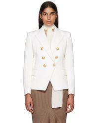 Balmain - White Wool Six-button Blazer - Lyst