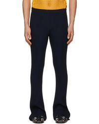 Dion Lee Black & Navy Stripe Rib Lounge Trousers