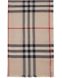 Burberry Beige Gauze Giant Check Scarf - Natural