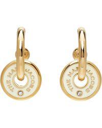 Marc Jacobs ゴールド & オフホワイト The Medallion フープ ピアス - マルチカラー