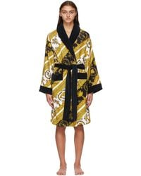 Versace Printed Cotton-terry Robe - Yellow