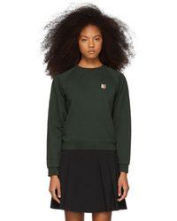 Maison Kitsuné - Green Fox Head Patch Sweatshirt - Lyst