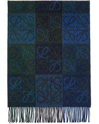 Loewe Navy And Green Wool Anagram Scarf - Blue