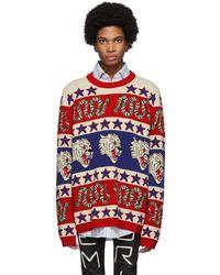 Gucci - ブルー And レッド ジャカード シンボル セーター - Lyst