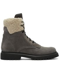 Moncler | Grey Suede Patty Military Boots | Lyst