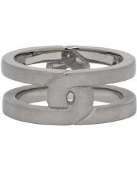 Maison Margiela Silver Brushed Burattato Ring - Metallic