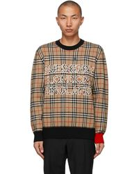 Burberry ベージュ チェック ロゴ セーター - ナチュラル