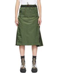 Sacai カーキ Ma-1 スカート - グリーン
