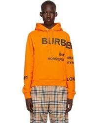 Burberry オレンジ Horseferry オーバーサイズ フーディ