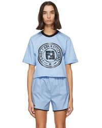 Fendi ブルー クロップ ロゴ T シャツ