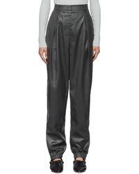 Tibi Black Liquid Drape Pleated Trousers