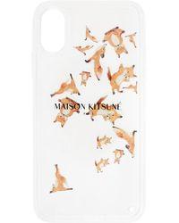 Maison Kitsuné トランスペアレント Aqua Yoga Fox Iphone X ケース - ホワイト