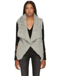 Yves Salomon - Grey Knitted Rabbit Vest - Lyst