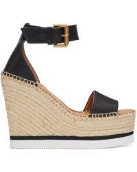 See By Chloé Black Glyn Platform Sandals