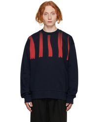 Marni ネイビー Distorted ロゴ スウェットシャツ - ブルー