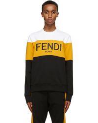 Fendi ホワイト & イエロー ロゴ スウェットシャツ