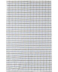 Beams Plus White Check Throw Blanket - Blue