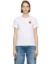 COMME DES GARÇONS PLAY - ホワイト & レッド Layered Heart T シャツ - Lyst