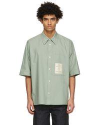 Wooyoungmi Green Oversized Patch Logo Shirt