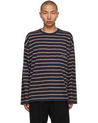 Wooyoungmi Navy Striped Logo Long Sleeve T-shirt - Blue