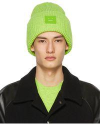 Acne Studios Green Wool Patch Beanie