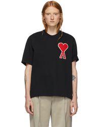AMI ブラック Ami De Coeur オーバーサイズ パッチ T シャツ