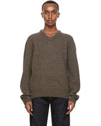 Lemaire Brown Shetland Wool V-neck Jumper