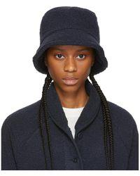 YMC Navy Sherpa Fleece Bucket Hat - Blue