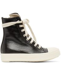 Rick Owens Drkshdw Black Lacquered High Trainers