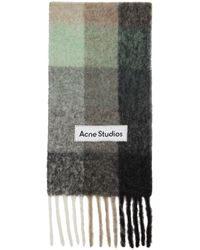 Acne Studios - グリーン & グレー チェック ラージ マフラー - Lyst