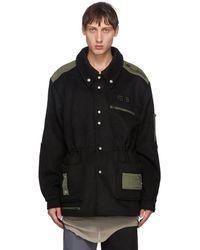 Xander Zhou Black And Khaki Drawstring Jacket