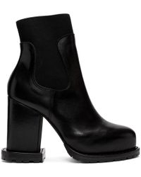 Sacai - Black Leather Ankle Boots - Lyst