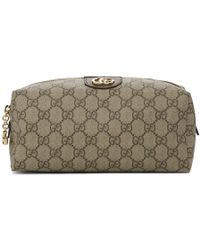 Gucci Beige And Brown Medium GG Ophidia Cosmetic Case - Black