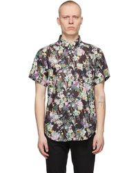 Naked & Famous Chemise à manches courtes noire flower painting easy
