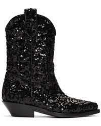 Dolce & Gabbana ブラック シークイン カウボーイ ブーツ